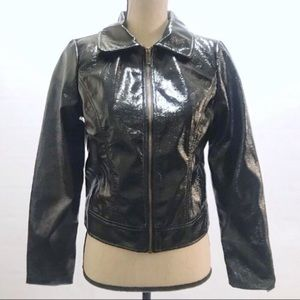 Who What Wear Jackets & Coats - Who What Where Faux Patent Leather Black Jacket Sm